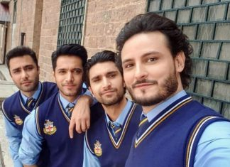 Osman Khalid Butt, with co-actors Ahad Raza Mir, Wahaj Ali and Ahmed Ali Akbar all dressed in college uniform