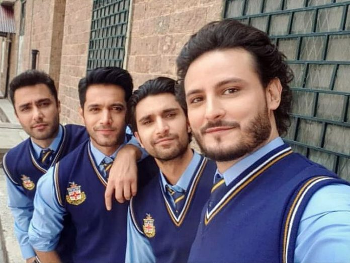 Osman Khalid Butt, with co-actors Ahad Raza Mir, Wahaj Ali and Ahmed Ali Akbar all dressed in college uniform