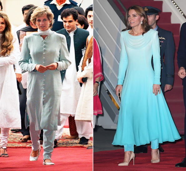 Princess Diana and Princess Kate wearing Pakistani traditional dress Shalwar Kameez