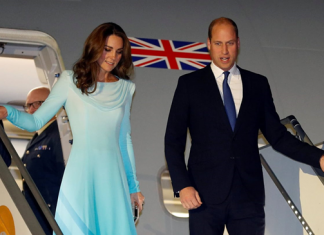 Prince William and Kate coming out from jet landed at Nur khan Air base near Islamabad