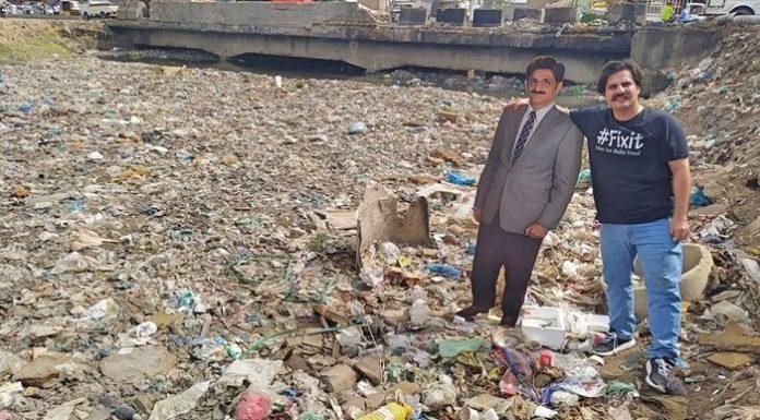 PTI MNA Alamgir Khan, put up a cut out of CM Murad Ali Shah at Karachi's Gujjar Nala.