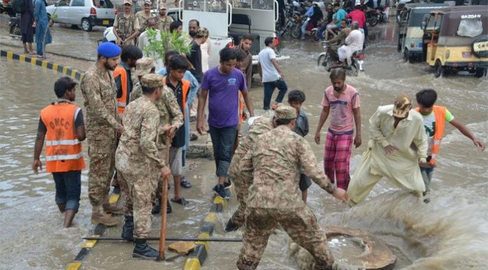 Army called to help civil administration for managing the urban flooding situation in Karachi.