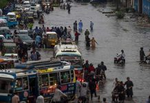 Heavy rainfall worsened the situation in Karachi.