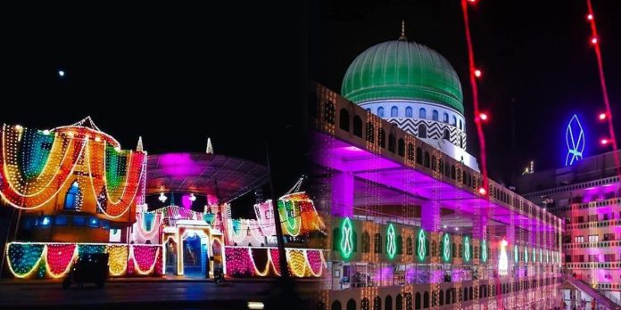 Several streets, buildings, and mosques have been decorated beautifully for the celebration of Eid Milad-Un-Nabi.