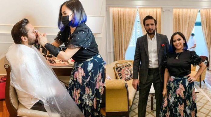 Shahid Afridi faces controversy of getting his make-up completed from a lady.