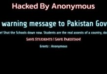 The Sindh Investments official website was hacked by anonymous to shut down schools immediately.